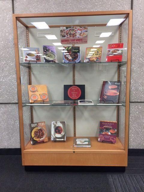 Soup books on display