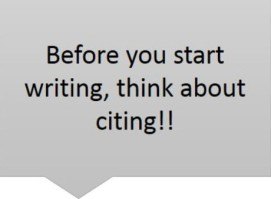 Before you start writing, think about citing!! graphic