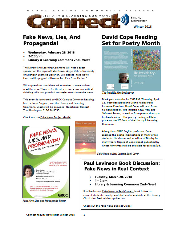 CONNECT Faculty Newsletter cover Feb 2018