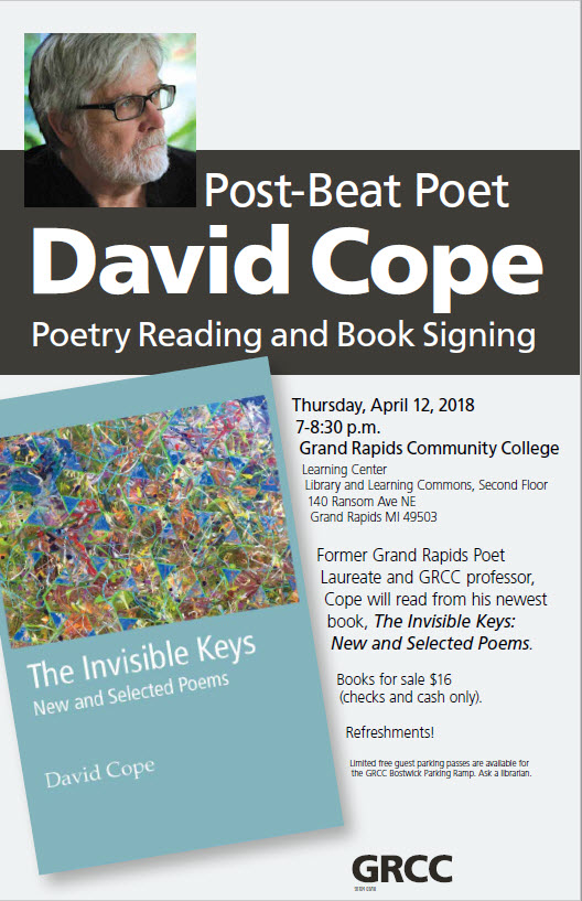 David Cope Poetry Reading Planned April 12 Grand Rapids Community