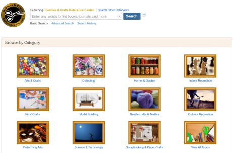 Hobbies & Crafts Reference Center database page