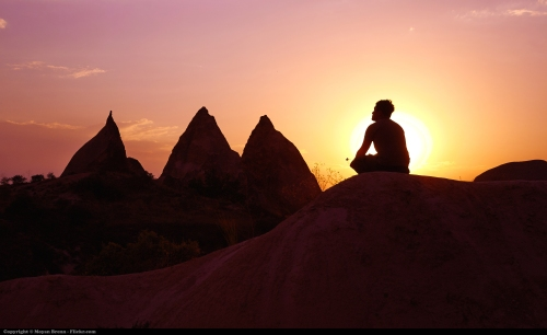 Meditation image with sunset