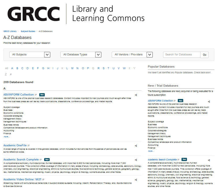 New A-Z Databases List | Grand Rapids Community College Library