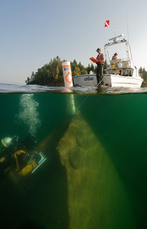 Scuba diving wrecks off Isle Royale