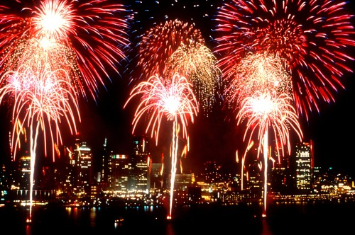Fireworks in Detroit and Windsor