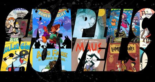 Graphic Novels spelled out with book covers
