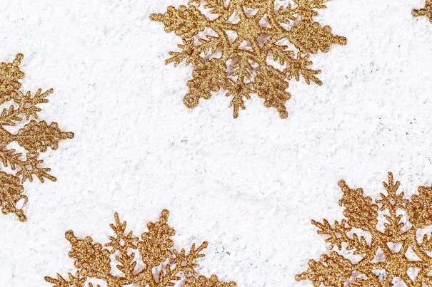 Winter gold snowflakes