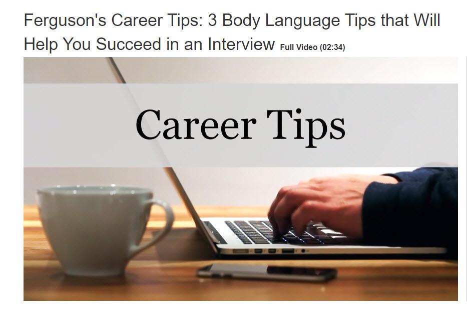 Career Tips Video screen