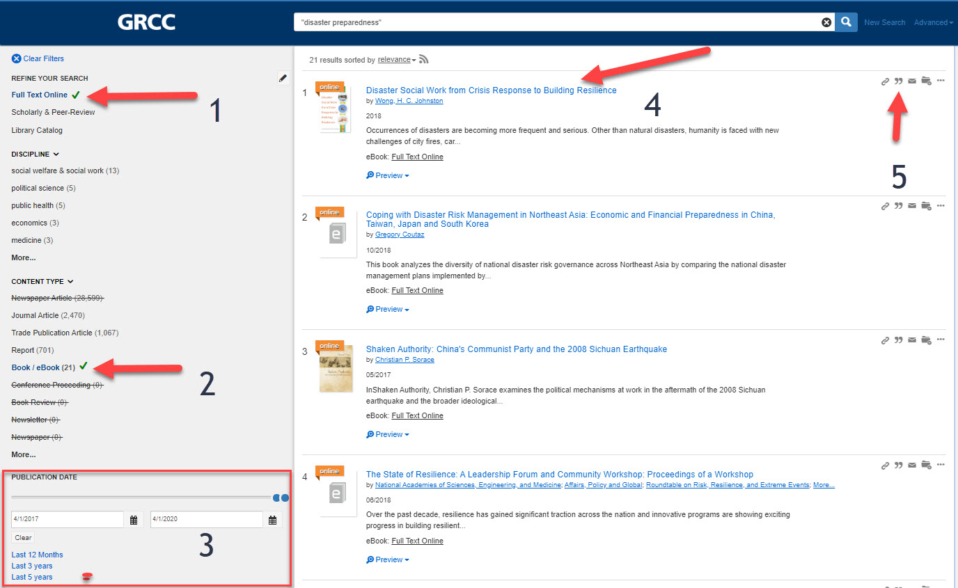 ebooks results page with numbers