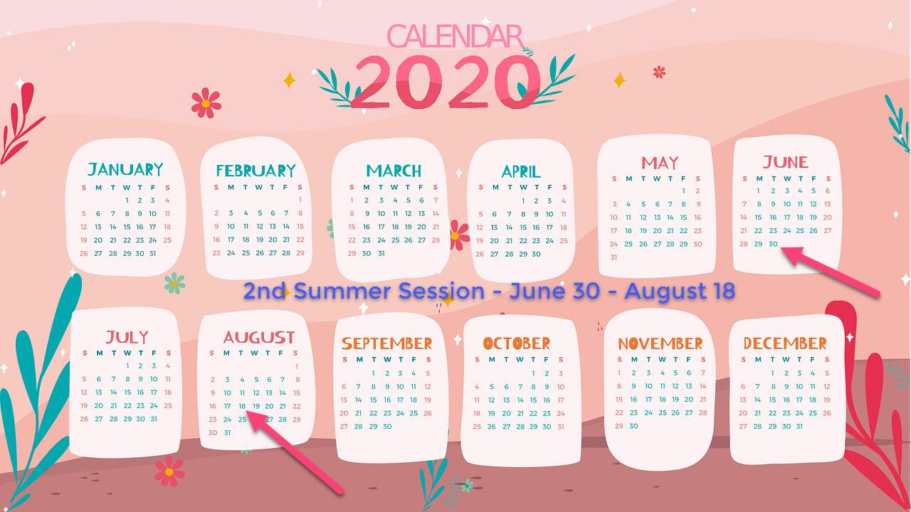 2nd summer calendar