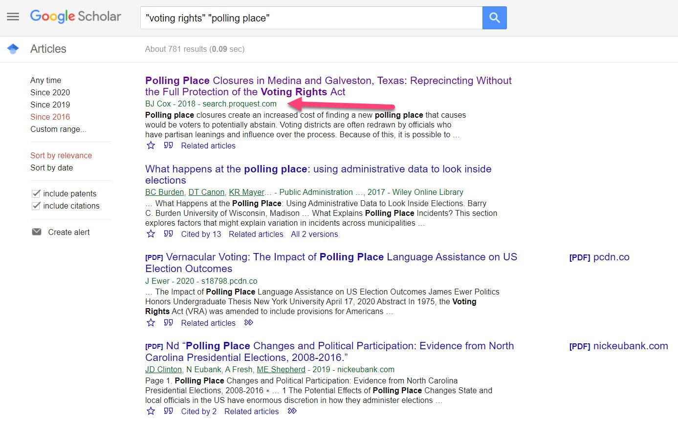 Google Scholar to ProQuest
