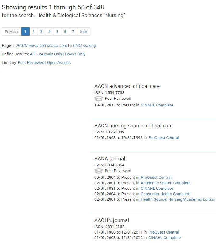 eJournal list for Nursing eJournals
