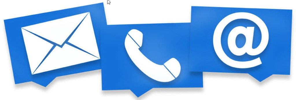 email call and social media icons