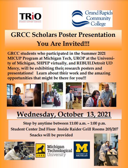 GRCC Scholars Poster Presentation invitation